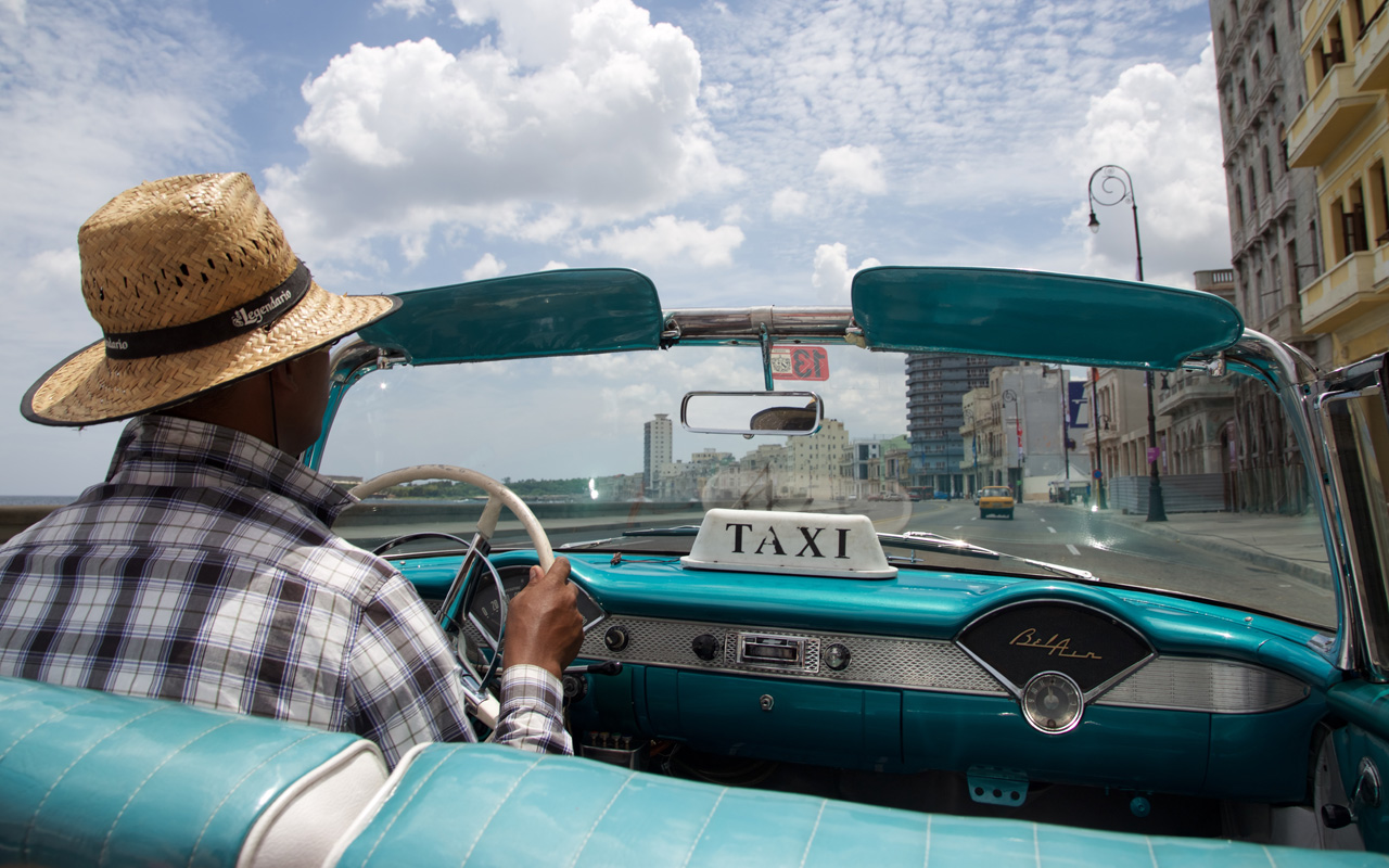 <p>A taxi ride for tourists in Havana.</p>