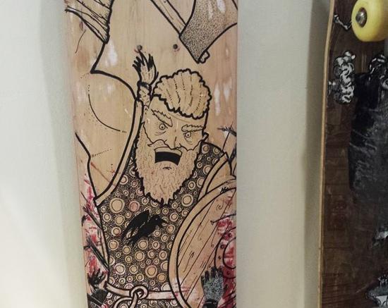 <p>Ragnar the Viking skateboard art.</p>
