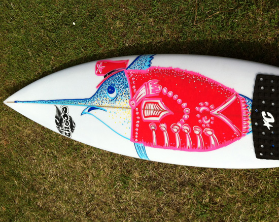 <p>Surfboard artwork. Hand drawn on the foam before the final layers of glass were applied.</p>